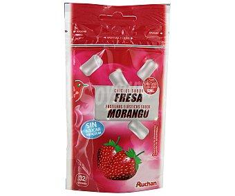 AUCHAN Chicles de fresa sin azúcar 32 Unidades (45 Gramos)