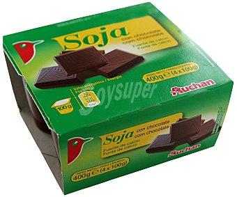 Auchan Yogur de soja chocolate 4 unidades de 100 gramos