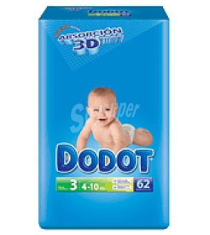 Dodot Pañal T3 (4-10 Kg.) 62 ud