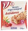Barrita cereales arroz y trigo integral arandanos Pack de 6x20 g Hacendado