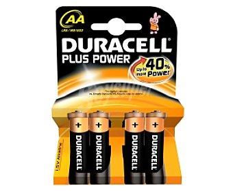 DURACELL Plus Power Pilas alcalinas AA LR6 1,5V Pack de 4 Unidades