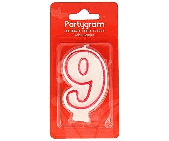 Partygram Vela de cumpleaños número 9 con filo color rojo 1 Unidad
