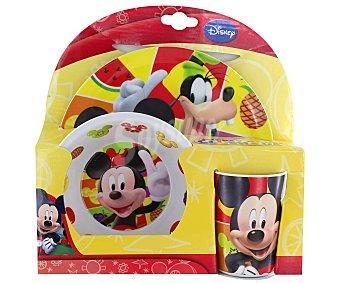 Disney Set de comida con diseño de Mickey Mouse, fabricado en melamina 1 Unidad