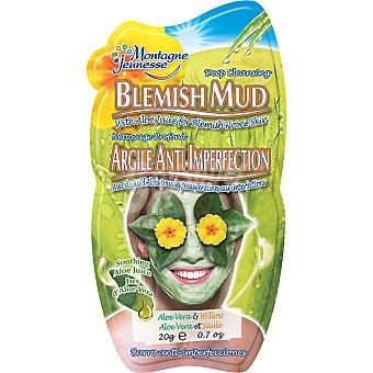 Montagne Jeunesse Mascarilla facial barro anti-imperfecciones combate las espinillas con jugo de aloe vera Envase 20 g