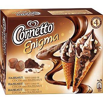 Cornetto Frigo Cono con helado de chocolate y avellana Enigma 4 unidades estuche 360 ml 4 unidades