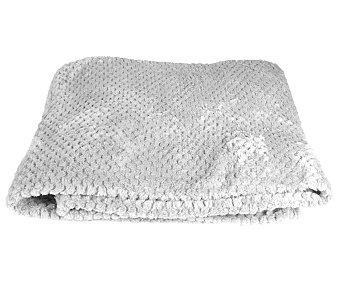 Actuel Plaid de franela color gris claro, tejido grano de arroz 100% poliéster, 125x150cm., ACTUEL.
