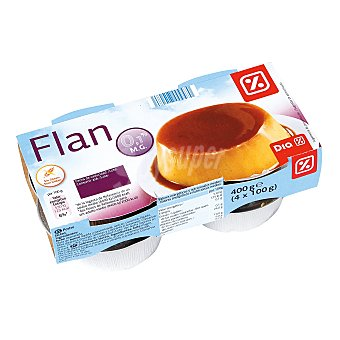 DIA Flan de huevo 0% mg pack 4 unidades 100 g Pack 4 unidades 100 g