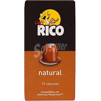 Rico Cafe natural 100% Arabica compatibles con maquinas Nespresso 10 capsulas estuche 50 g 10 capsulas