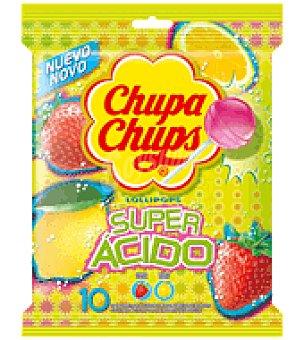 Chupa Chups Caramelo con palo super ácido 10 ud