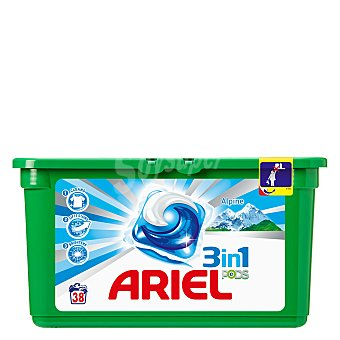 ARIEL Detergente máquina líquido 3 en 1 Pods Alpine ápsulas caja 38 c