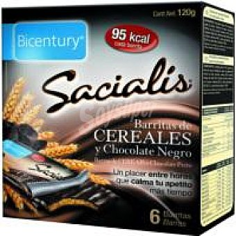 Sacialis Barrita cereales chocolate negro 120GR