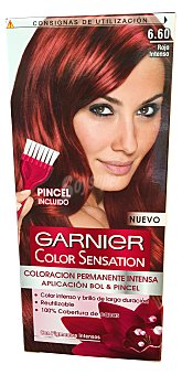 Color Sensation Garnier Tinte rojo intenso nº 6.60 coloración permanente intensa caja 1 unidad pincel gratis Caja 1 unidad