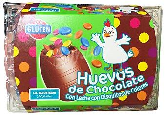 BOUTIQUE PRALINE Huevos de chocolate con disquitos de colores Paquete 150 g (6 unidades)