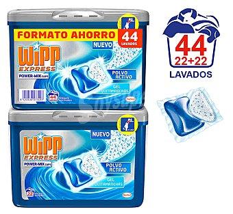 Wipp Express Detergente Power-Mix en cápsulas Pack 2x22 lavados