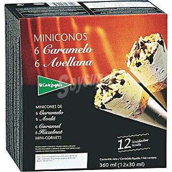El Corte Inglés Minicono con helado de avellana y caramelo estuche 360 ml 12 unidades