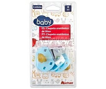Baby Chupete anatómico de látex 0-4 meses,azul 2 Unidades
