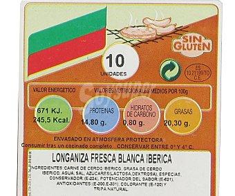 Campogrill Longaniza ibérica blanca sin gluten Bandeja de 10 unidades