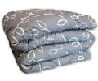 Auchan Edredón estampado ramas color gris para cama individual 1 Unidad