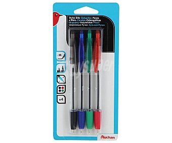 AUCHAN Bolígrafos Retráctiles Azul, Negro, Rojo, Verde 4 Unidades