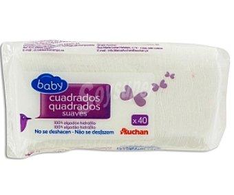 Auchan Algodones Cuadrados para Bebés 40 Unidades