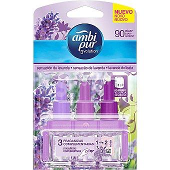 AMBIPUR 3VOLUTION Ambientador eléctrico sensación de Lavanda 3 fragancias complementarias recambio