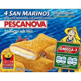 PESCANOVA San Marino Merluza empanada con jamón y queso 4 unidades estuche 300 g 4 unidades