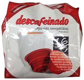 COCATECH Café cápsula (compatible cafetera dolce gusto*(marca de grupo societe des produits nestle, S.A. no relacionada con cocatech, s.l.)) descafeinado Paquete de 16 unidades
