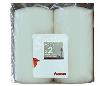 Auchan Velas cilíndricas de 95x50 milímetros, de color marfil Pack de 2 Unidades