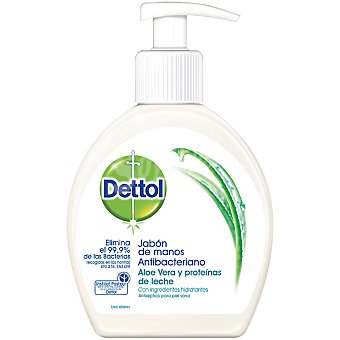 Dettol Jabón de manos antibacteriano hidratante con aloe vera y proteínas de leche dosificador 250 ml