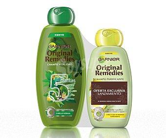 Garnier Champú vitalidad con 5 plantas (té verde, limón, eucalipto, ortiga y verbena) para cabello normal deslumbrante de salud más champú purificante con limón para cabello que se engrasa rápidamente y ligero (abosrbe y purifica, cabello limpio y ligero) 400 ml