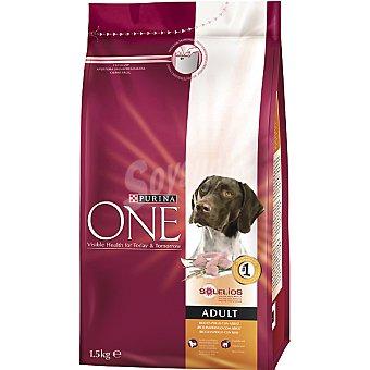 One Purina Alimento para perro de ingredientes de alta calidad rico en pollo y arroz Adult Bolsa 1,5 kg