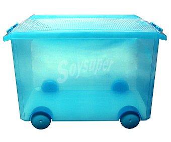 TATAY Caja de ordenación multiúsos con ruedas, capacidad de 60 litros, fabricada en plástico resistente, color turquesa translúcido 1 Unidad