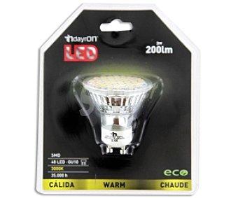 DAYRON Foco led 3W(equivalencia 20W), casquillo GU10, luz cálida, vida útil estimada 35000hrs 1 Unidad