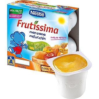 Nestlé Frutissima Puré de manzana melocotón al toque de miel pack 4 x 100 g envase 400 g Pack 4 x 100 g